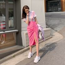 skirt Spring of 2019 S, M Pink skirt, model color, green skirt Mid length dress High waist skirt 91% (inclusive) - 95% (inclusive) other Other / other