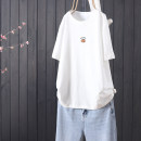 T-shirt white Average size Summer 2021 Short sleeve Crew neck easy Regular routine commute cotton 51% (inclusive) - 70% (inclusive) literature Plants and flowers Other / other A027315 - 0 . fifteen Embroidery