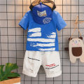 T-shirt blue Other / other male Short sleeve cotton printing Other 100% 2 years old, 3 years old, 4 years old, 5 years old, 6 years old, 7 years old, 8 years old