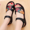 Sandals 36 37 38 39 40 41 42 Black atmosphere red fashion Other / other plastic cement Barefoot Flat bottom Low heel (1-3cm) Summer of 2018 Velcro leisure time Plants and flowers Injection pressure shoes Middle aged (40-60 years old) elderly (over 60 years old) rubber daily Front and rear trip strap