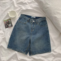 Jeans Summer 2021 shorts High waist Wide legged trousers routine 18-24 years old Zipper, button, multiple pockets Cotton denim Dark color 21051120 96% and above S,M,L blue