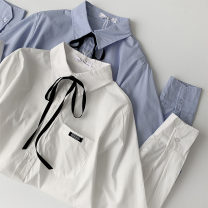 shirt White, blue Average size Spring 2021 polyester fiber 96% and above Long sleeves commute Regular Polo collar Single row multi button shirt sleeve Solid color 18-24 years old Straight cylinder Korean version Button man-made fiber