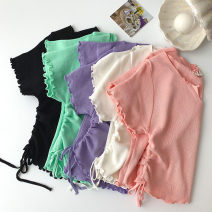 T-shirt Black, white, green, purple, pink Average size Summer 2021 Short sleeve V-neck easy have cash less than that is registered in the accounts routine commute other 96% and above 18-24 years old Korean version classic Solid color fungus