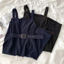 Dress Spring 2021 Black, navy blue Average size Mid length dress singleton  Sleeveless commute other High waist Solid color zipper A-line skirt other straps 18-24 years old Type A Korean version zipper More than 95% other polyester fiber