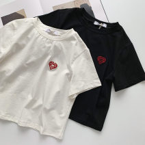T-shirt White, black Average size Summer 2021 Short sleeve Crew neck Self cultivation have cash less than that is registered in the accounts routine commute cotton 96% and above 18-24 years old Korean version originality Geometric pattern Embroidery