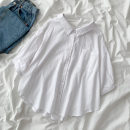 shirt white Average size Spring 2021 cotton 96% and above elbow sleeve commute Regular Polo collar Single row multi button shirt sleeve Solid color 18-24 years old Straight cylinder Korean version Pocket, button cotton