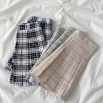 skirt Spring 2021 S,M,L Bright pink lattice , Bright purple lattice , Bright blue , Big Hagrid , Big blue Short skirt commute High waist Pleated skirt lattice Type A 18-24 years old More than 95% other polyester fiber zipper Korean version