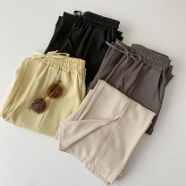 Casual pants Black, apricot, yellow, gray Average size Summer 2021 trousers Wide leg pants High waist commute routine 18-24 years old 96% and above polyester fiber Korean version pocket polyester fiber