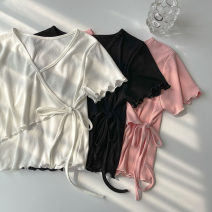 T-shirt Black, white, pink Average size Spring 2021 Short sleeve V-neck Self cultivation Regular routine commute polyester fiber 96% and above 18-24 years old Korean version classic Solid color Auricularia auricula