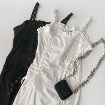 Dress Summer 2021 White, black Average size Mid length dress singleton  Sleeveless commute High waist Solid color zipper A-line skirt camisole 18-24 years old Type A Korean version zipper More than 95% other polyester fiber