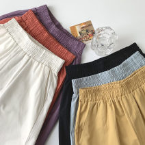 Casual pants Black, white, purple, brick red, cream blue, coffee Average size Summer 2021 trousers Wide leg pants High waist commute routine 18-24 years old 96% and above polyester fiber Korean version pocket polyester fiber