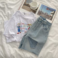 T-shirt white Average size Summer 2021 Short sleeve Crew neck easy Medium length routine commute cotton 96% and above 18-24 years old Korean version originality Cartoon, animation, letters printing