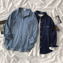 shirt Light blue, dark blue Average size Spring 2021 cotton 96% and above Long sleeves commute Regular Polo collar Single row multi button shirt sleeve Solid color 18-24 years old Korean version Pocket, button man-made fiber