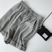 Casual pants grey Average size Spring 2021 trousers Wide leg pants High waist commute routine 18-24 years old 51% (inclusive) - 70% (inclusive) cotton Korean version Bandage cotton Asymmetry