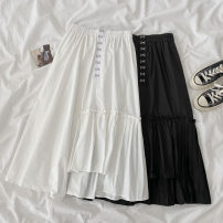 skirt Spring 2021 Average size White, black longuette commute High waist A-line skirt Solid color Type A 18-24 years old 51% (inclusive) - 70% (inclusive) other cotton Button Korean version