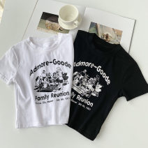 T-shirt White, black Average size Summer 2021 Short sleeve Crew neck easy have cash less than that is registered in the accounts routine commute cotton 96% and above 18-24 years old Korean version youth Letters, characters printing