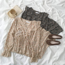 Dress Spring 2021 Black, apricot Average size Mid length dress singleton  Long sleeves commute V-neck Elastic waist Broken flowers Socket A-line skirt routine Others 18-24 years old Type A Korean version printing More than 95% other polyester fiber