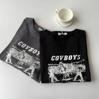 T-shirt Black, dark grey M,L,XL,2XL Summer 2021 Short sleeve Crew neck Self cultivation Regular routine commute cotton 51% (inclusive) - 70% (inclusive) 18-24 years old Korean version classic letter printing