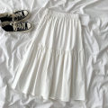 skirt Spring 2021 Average size white Mid length dress commute High waist A-line skirt Solid color Type A 18-24 years old 51% (inclusive) - 70% (inclusive) other cotton fold Korean version