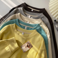 Sweater / sweater Spring 2021 Apricot, light grey, blue, dark grey, yellow Average size Long sleeves routine Socket singleton  routine Crew neck easy commute routine Solid color 18-24 years old 51% (inclusive) - 70% (inclusive) Korean version cotton cotton