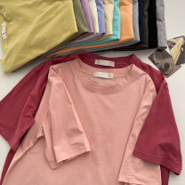 T-shirt Orange, blue, purple, apricot, white, black, Navy, yellow, gray blue, pink, mint, flower gray, carbon gray, plum red, bean green Average size Summer 2021 Short sleeve Crew neck easy Regular routine commute cotton 96% and above 18-24 years old Korean version classic Solid color