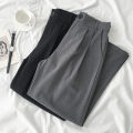 Casual pants Gray, black Average size Spring 2021 trousers Wide leg pants High waist commute routine 18-24 years old 96% and above Korean version polyester fiber