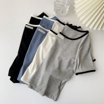 T-shirt White, black, blue, gray Average size Summer 2021 Short sleeve Crew neck Straight cylinder have cash less than that is registered in the accounts routine commute polyester fiber 96% and above 18-24 years old Korean version youth Solid color