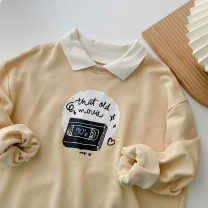 Sweater / sweater Spring 2021 Apricot Average size Long sleeves routine Socket Fake two pieces routine Polo collar easy commute Wrap sleeves Cartoon animation 18-24 years old 51% (inclusive) - 70% (inclusive) Korean version cotton Splice, threaded cotton