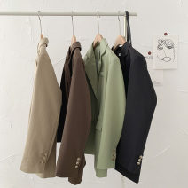 suit Autumn 2020 Khaki, black, green, brown Average size Long sleeves Medium length easy tailored collar Single breasted commute shirt sleeve Solid color 18-24 years old 96% and above cotton