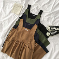 Dress Spring 2021 Average size Mid length dress singleton  Sleeveless commute High waist Solid color Socket A-line skirt straps 18-24 years old Type A Korean version 51% (inclusive) - 70% (inclusive) cotton