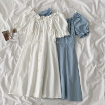 Dress Spring 2021 White, blue Average size Short skirt singleton  Short sleeve commute One word collar High waist Solid color Single breasted A-line skirt puff sleeve 18-24 years old Type A Korean version Button 51% (inclusive) - 70% (inclusive) other cotton