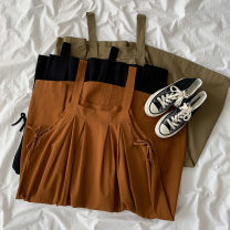 Dress Summer 2021 Black, army green, ginger Average size Short skirt singleton  Sleeveless commute High waist Solid color Socket A-line skirt straps 18-24 years old Type A Korean version Frenulum More than 95% other cotton