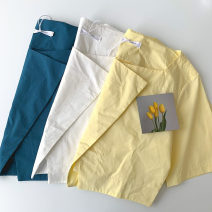 shirt White, blue, yellow S, M Spring 2021 cotton 51% (inclusive) - 70% (inclusive) Long sleeves commute Short style (40cm < length ≤ 50cm) Socket routine Solid color 18-24 years old Straight cylinder Korean version polyester cotton