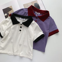 T-shirt White, purple Average size Spring 2021 Short sleeve Polo collar Self cultivation have cash less than that is registered in the accounts routine commute polyester fiber 96% and above 18-24 years old Korean version classic Solid color Button