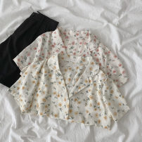 shirt Yellow, pink Average size Spring 2021 polyester fiber 96% and above Short sleeve commute Regular tailored collar Single row multi button routine Broken flowers 18-24 years old Straight cylinder Korean version Button polyester cotton