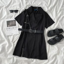 Dress Spring 2021 Little black dress S,M,L Mid length dress singleton  Long sleeves commute tailored collar High waist Solid color double-breasted A-line skirt routine 18-24 years old Type A Korean version Button More than 95% other polyester fiber