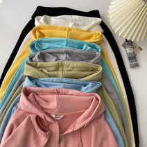 Sweater / sweater Spring 2021 Average size Long sleeves routine Cardigan singleton  routine Hood easy commute routine Solid color 18-24 years old 71% (inclusive) - 80% (inclusive) Korean version cotton cotton zipper