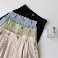 skirt Spring 2021 Average size Apricot, blue, black, green longuette commute High waist A-line skirt Solid color Type A 18-24 years old More than 95% other polyester fiber Button Korean version
