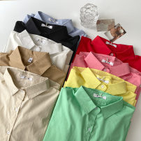 shirt Average size Summer 2021 cotton 51% (inclusive) - 70% (inclusive) Long sleeves commute Regular Polo collar Single row multi button shirt sleeve Solid color 18-24 years old Straight cylinder Korean version Button polyester cotton