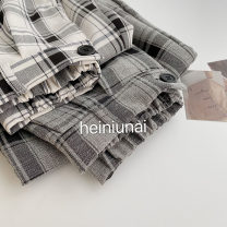 Casual pants Gray check, white check Average size Spring 2021 trousers Wide leg pants High waist commute routine 18-24 years old 96% and above polyester fiber Korean version pocket polyester fiber