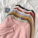 sweater Autumn 2020 Average size Off white, black, apricot, coffee, yellow, pink, purple, grass green, brick red Long sleeves Cardigan Regular acrylic fibres 95% and above commute routine Solid color 18-24 years old Single breasted