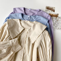 shirt Purple, blue, apricot Average size Spring 2021 cotton 51% (inclusive) - 70% (inclusive) Long sleeves commute Regular Doll Collar Single row multi button shirt sleeve Solid color 18-24 years old Straight cylinder Korean version Button