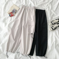 Casual pants Apricot, black Average size Spring 2021 Ninth pants Overalls High waist commute 18-24 years old 96% and above Korean version polyester fiber