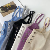 Vest sling Summer 2021 Apricot, black, blue, gray, white, purple Average size singleton  routine Self cultivation commute camisole Solid color 18-24 years old 96% and above acrylic fibres Button
