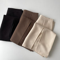 skirt Summer 2021 S,M,L Black, apricot, brown Mid length dress commute High waist other Solid color Type H 18-24 years old More than 95% other polyester fiber