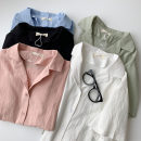 shirt Green, blue, white, black, pink Average size Spring 2021 cotton 96% and above Short sleeve commute Regular Polo collar Single row multi button routine Solid color 18-24 years old Straight cylinder Korean version Button Cotton and hemp
