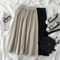 skirt Spring 2021 Average size Black, Khaki longuette commute High waist A-line skirt Solid color Type A 18-24 years old 51% (inclusive) - 70% (inclusive) other cotton zipper Korean version