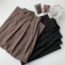 Casual pants Black, Khaki Average size Spring 2021 trousers Wide leg pants High waist commute routine 18-24 years old 96% and above polyester fiber Korean version polyester fiber