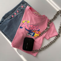 T-shirt Pink Average size Summer 2021 Short sleeve Crew neck easy Regular routine commute cotton 96% and above 18-24 years old Korean version classic Solid color printing