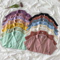shirt Summer 2021 polyester fiber 96% and above Short sleeve commute Regular payment tailored collar Single row multi button routine Solid color 18-24 years old Straight tube Korean version 21050709 polyester cotton One size fits all
